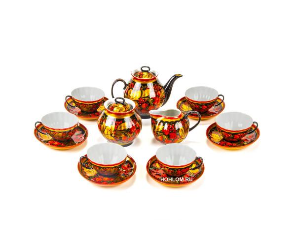 Чайный сервиз хохлома клубника на 6 персон