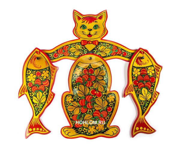 """Набор разделочных досок """"Кошка с рыбками"""" Хохлома"""