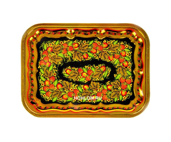 Самовар в наборе с чайником и подносом хохлома (клубника)